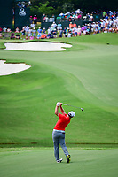 Jon Rahm (ESP) hits his approach shot on 15 during Sunday's final round of the PGA Championship at the Quail Hollow Club in Charlotte, North Carolina. 8/13/2017.<br /> Picture: Golffile | Ken Murray<br /> <br /> <br /> All photo usage must carry mandatory copyright credit (&copy; Golffile | Ken Murray)