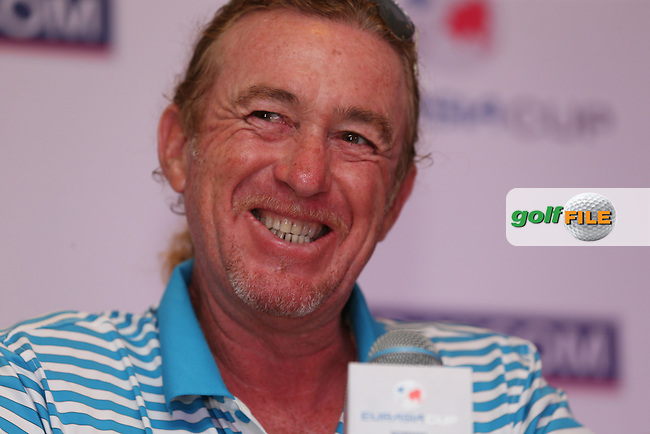 Team Europe Captain, Miguel Angel Jimenez (ESP) announced that a balanced diet of wine, cigars, exercise and golf keeps him alive after the Foursome matches at the 2014 EurAsia Cup presented by DRB-Hicom, at the Glenmarie Golf & Country Club, Kuala Lumpur, Malaysia. Picture:  David Lloyd / www.golffile.ie