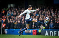 Dele Alli of Spurs controls the ball before scoring his first goal during the Premier League match between Chelsea and Tottenham Hotspur at Stamford Bridge, London, England on 1 April 2018. Photo by Andy Rowland.