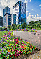 Discovery Green Park in Houston in a vertical format.