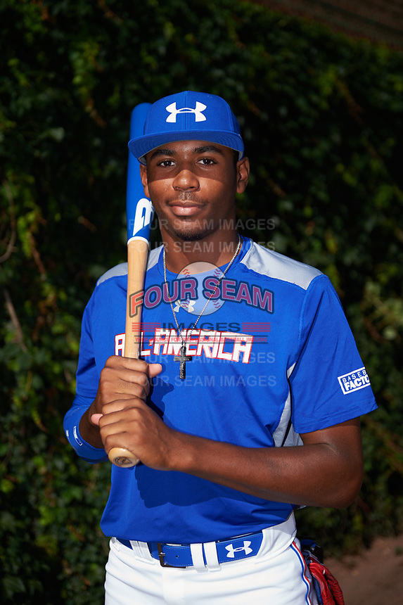 Joe Gray (10) of Hattiesburg High School in Hattiesburg, Mississippi poses for a photo before the Under Armour All-American Game presented by Baseball Factory on July 29, 2017 at Wrigley Field in Chicago, Illinois.  (Mike Janes/Four Seam Images)