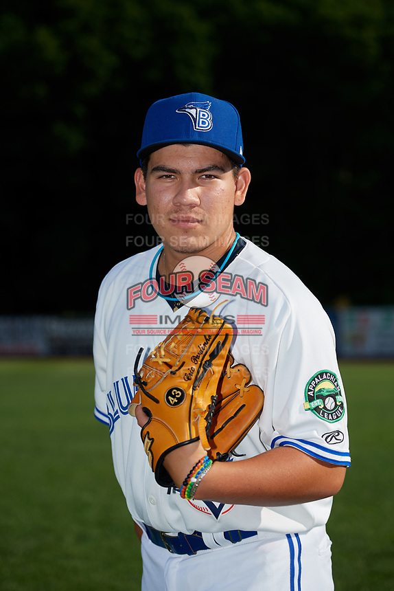 Bluefield Blue Jays pitcher Eric Pardinho (43) poses for a photo before a game against the Bristol Pirates on July 26, 2018 at Bowen Field in Bluefield, Virginia.  Bristol defeated Bluefield 7-6.  (Mike Janes/Four Seam Images)