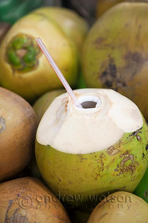 Drinking coconuts.  Rusty's Markets, Cairns, Queensland, Australia