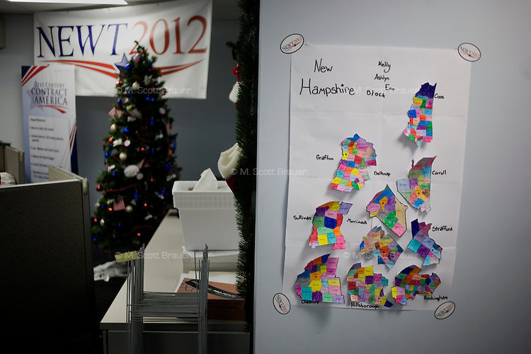 A colorful map of New Hampshire counties and districts hangs on a wall at the Newt Gingrich New Hampshire campaign headquarters in Manchester, New Hampshire, on Jan. 7, 2012. Gingrich is seeking the 2012 Republican presidential nomination.