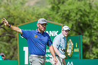 Louis Oosthuizen (RSA) and Robert Macintyre (SCO) during the first round at the Nedbank Golf Challenge hosted by Gary Player,  Gary Player country Club, Sun City, Rustenburg, South Africa. 14/11/2019 <br /> Picture: Golffile | Tyrone Winfield<br /> <br /> <br /> All photo usage must carry mandatory copyright credit (© Golffile | Tyrone Winfield)