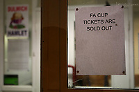 A sign indicates that tickets for the FA Cup 1st Round tie between Dulwich Hamlet and Carlisle United are sold out . at Champion Hill Stadium on 4th November 2019. The forthcoming FA Cup-Tie against Carlisle Utd on Friday 8th November 2019 will be screened live on BBC 2. With the club receiving a TV payment of £75,000.