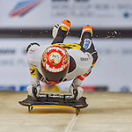 9 January 2016: Michael Zachrau, competing for Germany, pushes off for his first run start of the BMW IBSF World Cup Skeleton race at the Olympic Sports Track in Lake Placid, New York, USA. Zachrau ended the day with a combined 2-run time of 1:50.70 and a 9th place overall finish. Mandatory Credit: Ed Wolfstein Photo *** RAW (NEF) Image File Available ***