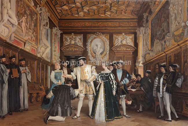 King Francois I giving the titles and benefits of the Abbey of Saint-Martin to Rosso, oil painting, 1865, by Isidore Patrois, 1815-84, in the collection of the Depot du Fonds national díart contemporain, in the Chateau Royal de Blois, built 13th - 17th century in Blois in the Loire Valley, Loir-et-Cher, Centre, France. The chateau has 564 rooms and 75 staircases and is listed as a historic monument and UNESCO World Heritage Site. Picture by Manuel Cohen