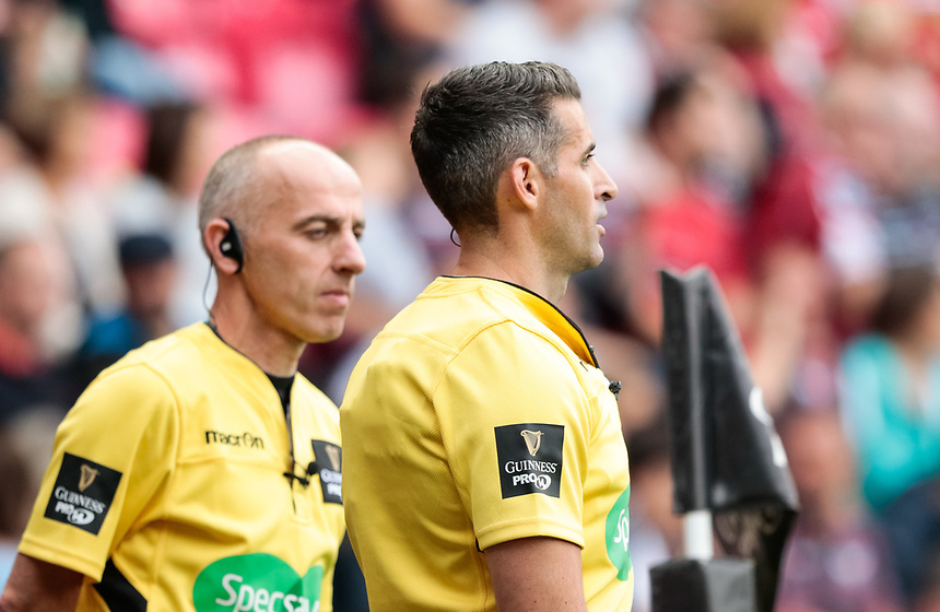 Referee Frank Murphy waits for the TMO<br /> <br /> Photographer Simon King/CameraSport<br /> <br /> Guinness Pro14 Round 1 - Scarlets v Southern Kings - Saturday 2nd September 2017 - Parc y Scarlets - Llanelli, Wales<br /> <br /> World Copyright &copy; 2017 CameraSport. All rights reserved. 43 Linden Ave. Countesthorpe. Leicester. England. LE8 5PG - Tel: +44 (0) 116 277 4147 - admin@camerasport.com - www.camerasport.com