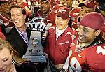 FSU head coach Bobby Bowden and his team celebrate with the trophy after winning in the 2008 Champs Sports Bowl 42-13  in Orlando December 27, 2008.   (Mark Wallheiser/TallahasseeStock.com)