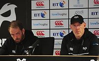 Ospreys' Head Coach Steve Tandy and Alun Wyn Jones during the post match interviews <br /> <br /> Photographer Ashley Crowden/CameraSport<br /> <br /> Guinness Pro14 Round 6 - Ospreys v Scarlets - Saturday 7th October 2017 - Liberty Stadium - Swansea<br /> <br /> World Copyright &copy; 2017 CameraSport. All rights reserved. 43 Linden Ave. Countesthorpe. Leicester. England. LE8 5PG - Tel: +44 (0) 116 277 4147 - admin@camerasport.com - www.camerasport.com