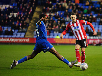 Lincoln City's Jason Shackell vies for possession with Shrewsbury Town's Ro-Shaun Williams<br /> <br /> Photographer Andrew Vaughan/CameraSport<br /> <br /> The EFL Sky Bet League One - Shrewsbury Town v Lincoln City - Saturday 11th January 2020 - New Meadow - Shrewsbury<br /> <br /> World Copyright © 2020 CameraSport. All rights reserved. 43 Linden Ave. Countesthorpe. Leicester. England. LE8 5PG - Tel: +44 (0) 116 277 4147 - admin@camerasport.com - www.camerasport.com