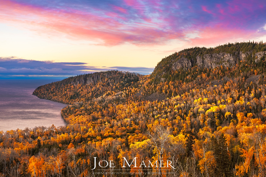 Autumn sunrise at Wauswaugoning Bay and Mount Josephine on Lake Superior's north shore.