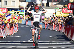 Bauke Mollema (NED) Trek-Segafredo crosses the finish line solo to win Stage 15 of the 104th edition of the Tour de France 2017, running 189.5km from Laissac-Severac l'Eglise to Le Puy-en-Velay, France. 16th July 2017.<br /> Picture: ASO/Pauline Ballet | Cyclefile<br /> <br /> <br /> All photos usage must carry mandatory copyright credit (&copy; Cyclefile | ASO/Pauline Ballet)