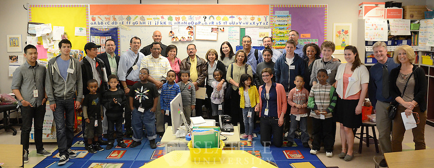 A group of visiting professors and education directors from the Universidad Centroamericana: Nicaragua tour the Seattle University Youth Initiative's involvement at Bailey Gatzert Elementary School May 08, 2013.