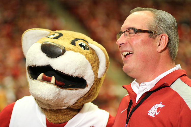 "Bill Moos and ""Butch"" at the WSU vs. UW basketball game at Friel Court in Pullman, Washington, on February 27, 2010."