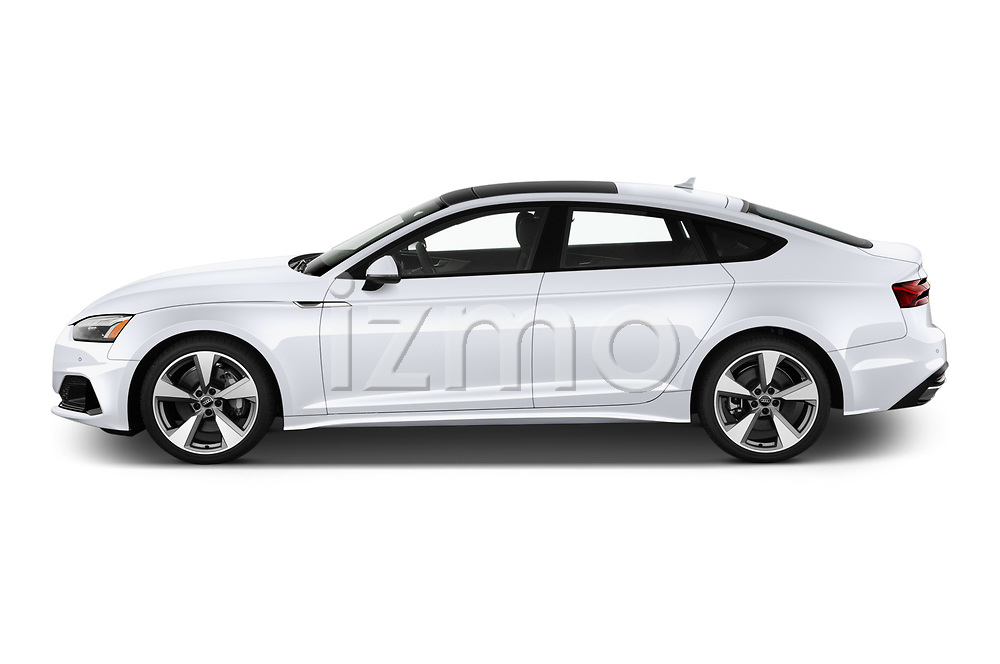 Car Driver side profile view of a 2020 Audi A5-Sportback Premium-plus 5 Door Hatchback Side View