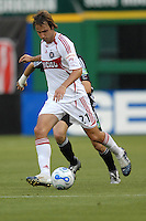 Chicago Fire midfielder Justin Mapp (21) dribbles the ball. DC United defeated the Chicago Fire 1-0, Wednesday, June 21, 2006.