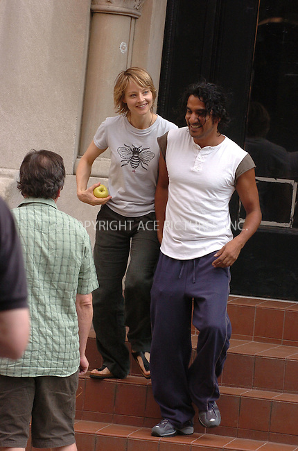 WWW.ACEPIXS.COM . . . . .  ....June 16, 2006, New York City....Jodie Foster and Naveen Andrews on the set of 'The Brave One' ......Please byline: AJ Sokalner - ACEPIXS.COM..... *** ***..Ace Pictures, Inc:  ..(212) 243-8787 or (646) 769 0430..e-mail: info@acepixs.com..web: http://www.acepixs.com