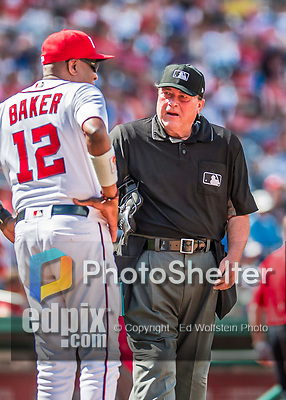 16 August 2017: MLB Umpire Gerry Davis has a chat with Washington Nationals Manager Dusty Baker during a game between the Washington Nationals and the Los Angeles Angels at Nationals Park in Washington, DC. The Angels defeated the Nationals 3-2 to split their 2-game series. Mandatory Credit: Ed Wolfstein Photo *** RAW (NEF) Image File Available ***