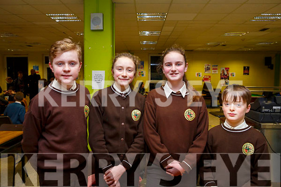 Brian O'Domhnaill, Aisling Ni Chathasaigh, Hannah Stiobard and Ruadhan Clumhain from Gaelscoil Mhic Easmainn attending the ISTA Primary Schools Annual Science Quiz in the IT Tralee's South campus on Thursday night last.