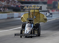 Sept. 6, 2010; Clermont, IN, USA; NHRA top fuel dragster driver Tony Schumacher during the U.S. Nationals at O'Reilly Raceway Park at Indianapolis. Mandatory Credit: Mark J. Rebilas-