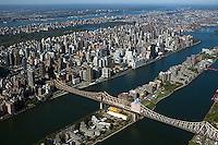 aerial photograph Roosevelt Island upper East side Manhattan, Queensborough bridge, New York City