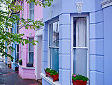 ENGLAND, Brighton, Colorful Row of Houses in Kemptown