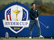 23.09.2014. Gleneagles, Auchterarder, Perthshire, Scotland.  The Ryder Cup.  Rory McIlroy (EUR) prepares to drive on the 18th during his practice round.