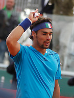 Fabio Fognini celebrates at end of Davis Cup quarter-final tennis matc hagainst James Ward in Naples April 4, 2014.
