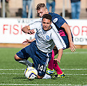 Forfar's James Dale is brought down by Morton's Joseph McKee.