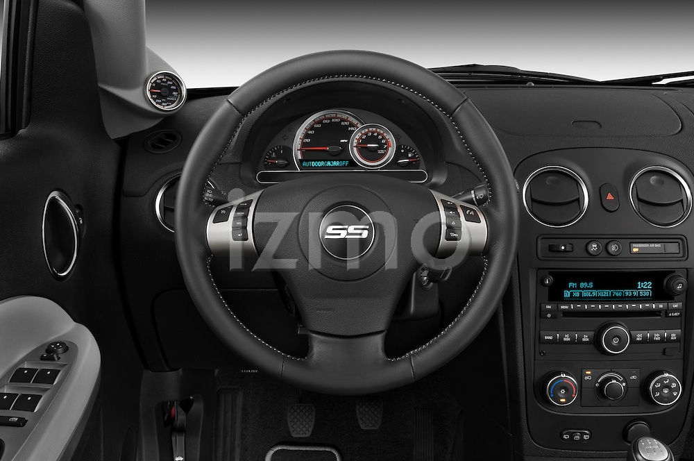 Steering wheel view of a 2009 Chevrolet HHR SS