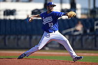 Indiana State Sycamores pitcher Michael Eberle (10) delivers a pitch during a game against the Vanderbilt Commodores on February 21, 2015 at Charlotte Sports Park in Port Charlotte, Florida.  Indiana State defeated Vanderbilt 8-1.  (Mike Janes/Four Seam Images)