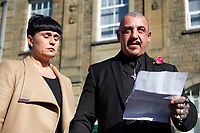 "Pictured: Paul and Gemma Black, the parents of one year old Pearl Black, give a statement at the Coroner's Court in Pontypridd, south Wales, UK. Thursday 25 October 2018 Re: The inquest into the death of a toddler who died after a parked Range Rover's brakes failed and it hit a garden wall which fell on top of her will be held at Pontypridd Coroner's Court, Wales, UK today (Thu 25 Oct 2018).<br /> One year old Pearl Melody Black and her eight-month-old brother were taken to hospital after the incident in Merthyr Tydfil, in August 2017.<br /> Pearl's family, father Paul who is The Voice contestant and mum Gemma have said she was ""as bright as the stars""."