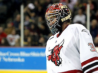 UNO goalie John Faulkner finished with 33 saves to earn a school-record and NCAA-leading sixth shutout. UNO beat St. Cloud State 3-0 Friday night at Qwest Center Omaha.  (Photo by Michelle Bishop)