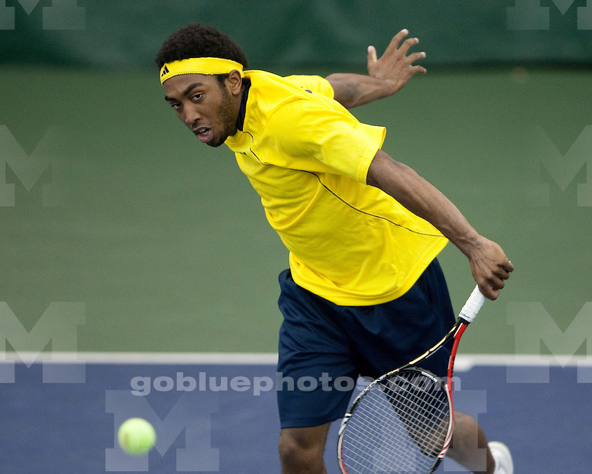 The University of Michigan men's tennis team lost 4-3 to No. 10 Duke at the Varsity Tennis Center in Ann Arbor, Mich., on January 21, 2012.