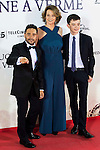 """The director of the film J.A. Bayona, Sigourney Weaver and Lewis MacDougall during the premiere of the spanish film """"Un Monstruo Viene a Verme"""" of J.A. Bayona at Teatro Real in Madrid. September 26, 2016. (ALTERPHOTOS/Borja B.Hojas)"""