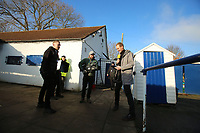 The BBCs Dan Walker practices some pieces to camera during Kingstonian vs AFC Fylde, Emirates FA Cup Football at King George's Field on 30th November 2019