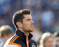 Houston Dynamo goalkeeper Tally Hall (1). In a Major League Soccer (MLS) match, the New England Revolution (blue/white) defeated Houston Dynamo (orange), 2-0, at Gillette Stadium on April 12, 2014.