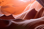 Rock sculpted by water in the slot canyon of Lower Antelope Canyon, Page, Arizona, AZ, USA