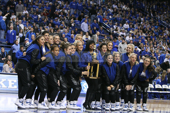 UK dance team celebrate their 5th place finish at nationals during halftime of the UK Men's basketball game vs. Texas A&M at Rupp Arena in Lexington, Ky., on Tuesday January 21, 2014. Photo by Joel Repoley | Staff
