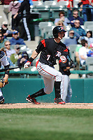 Richmond Flying Squirrels outfielder Ryan Lollis (7) during game against the Trenton Thunder at ARM & HAMMER Park on April 14 2013 in Trenton, NJ.  Trenton defeated Richmond 15-1.  (Tomasso DeRosa/Four Seam Images)