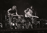 David Lee Roth Band featuring Steve Vai and Billy Sheehan performing at the Rosemoint Horizion in Rosemont, Illinois. <br /> Sept.19,1986<br /> CAP/MPI/GA<br /> &copy;GA/MPI/Capital Pictures