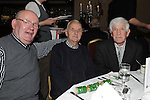 Eugene Byrne, Ken Donagh and Jimmy Murray pictured at the Drogheda Gardening club christmas dinner dance in the Westcourt hotel. Photo: Colin Bell/pressphotos.ie