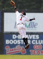 July 15, 2009: 2009 draft pick infielder Mycal Jones (1) of the Danville Braves can't quite reach high enough for a line drive in a game against the Elizabethton Twins at Dan Daniel Memorial Park in Danville, Va. Photo by:  Tom Priddy/Four Seam Images