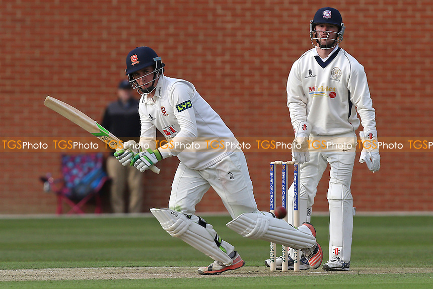 Daniel Lawrence in batting action for  Essex as Joe Tetley looks on from behind the stumps during Cambridge MCCU vs Essex CCC, English MCC University Match Cricket at Fenner's on 1st April 2016