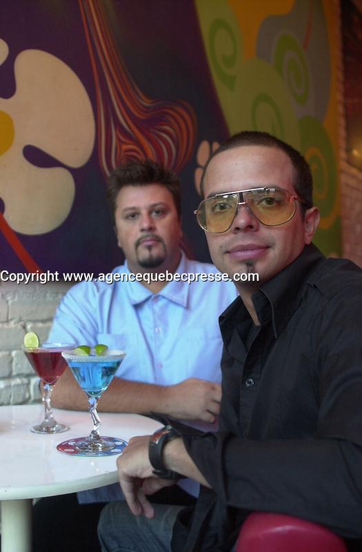 Carlos Morais (L) ,Paulo Branco (R), owners GOGO Lounge on St-Laurent Boul., Montreal. Photo : (c) 2004, Pierre Roussel