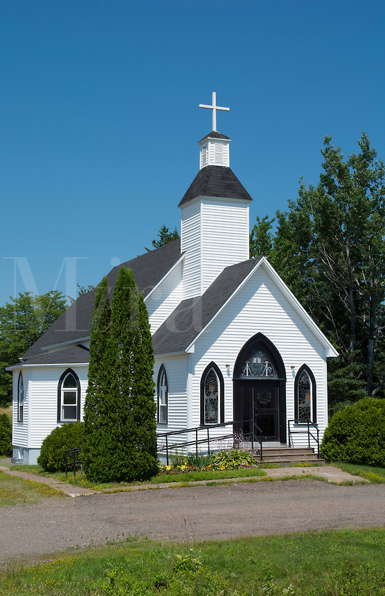 Canada Fairfield New Brunswick beautiful white church called Fairfield Baptist Church in summer