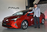 October 13, 2015, Tokyo, Japan - Chief engineer Koji Toyoshima of Japan's Toyota Motor Corp. introduces the next-generation 2016 Prius hybrid at its Mega Web showroom in Tokyo on Tuesday, October 13, 2015. The flashy fourth generation new Prius adds another 10% to its already impressive fuel economy rating to 40km per liter.  (Photo by Natsuki Sakai/AFLO) AYF -mis-
