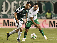 PALMIRA - COLOMBIA, 26-05-2019: Carlos Mario Rodriguez del Cali disputa el balón con Brayan Rovira de Nacional durante partido entre Deportivo Cali y Atlético Nacional por la fecha 4, cuadrangulares semifinales, de la Liga Águila I 2019 jugado en el estadio Deportivo Cali de la ciudad de Palmira. / Carlos Mario Rodriguez of Cali vies for the ball with Brayan Rovira of Nacional during match between Deportivo Cali and Atletico Nacional for the date 4, semifinal quadrangulars, as part Aguila League I 2019 played at Deportivo Cali stadium in Palmira city.  Photo: VizzorImage / Gabriel Aponte / Staff